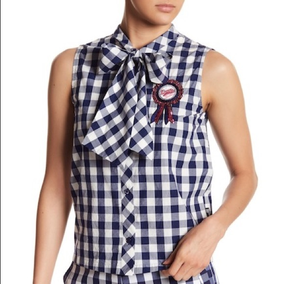 722ac2f9 Love Moschino Tops | Pussy Bow Gingham Top | Poshmark